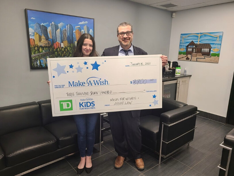 Lila and Norm Assiff donate to Make a Wish Edmonton